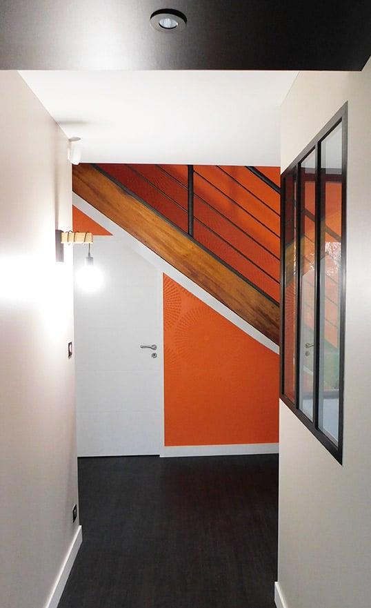 cage escalier orange décoratrice intérieure nantes 44