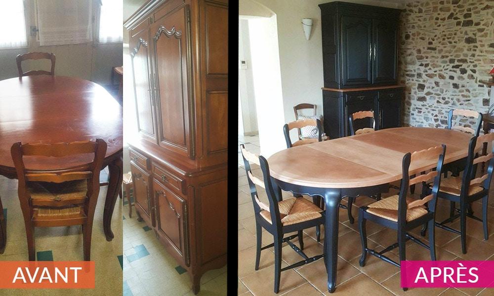 Relooking table et meuble AVANT/APRES