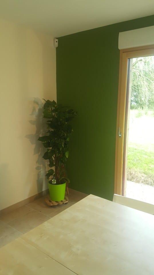 Peinture verte sur mur après relooking